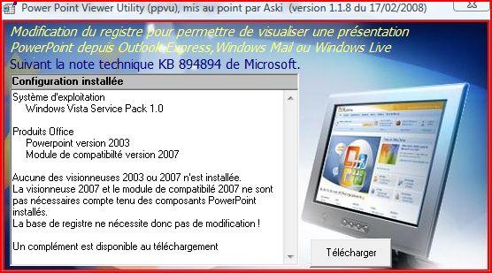 TÉLÉCHARGER VISIONNEUSE POWERPOINT 2007 VISTA